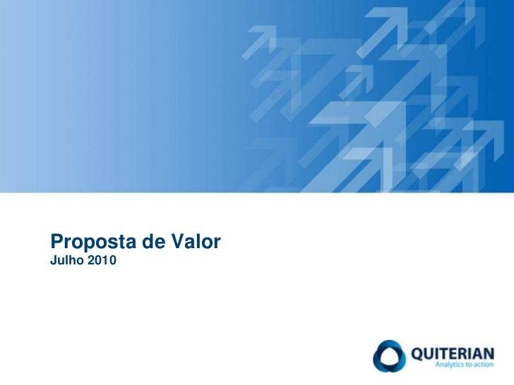 Proposta de ValorJulho 2010<br />