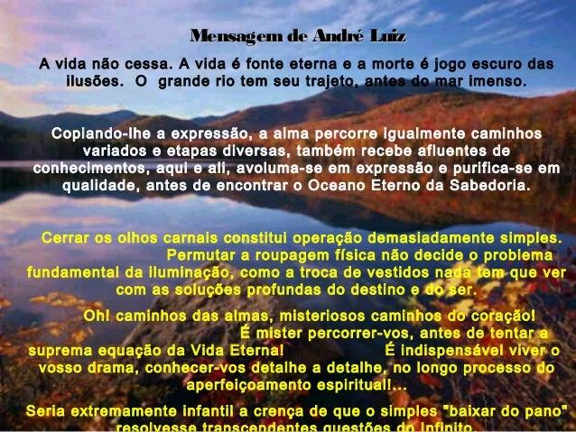 Mensagem de André Luiz A vida não cessa. A vida é fonte eterna e a morte é jogo escuro das     ilusões. O grande rio tem s...