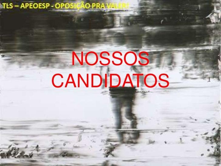 NOSSOS CANDIDATOS<br />