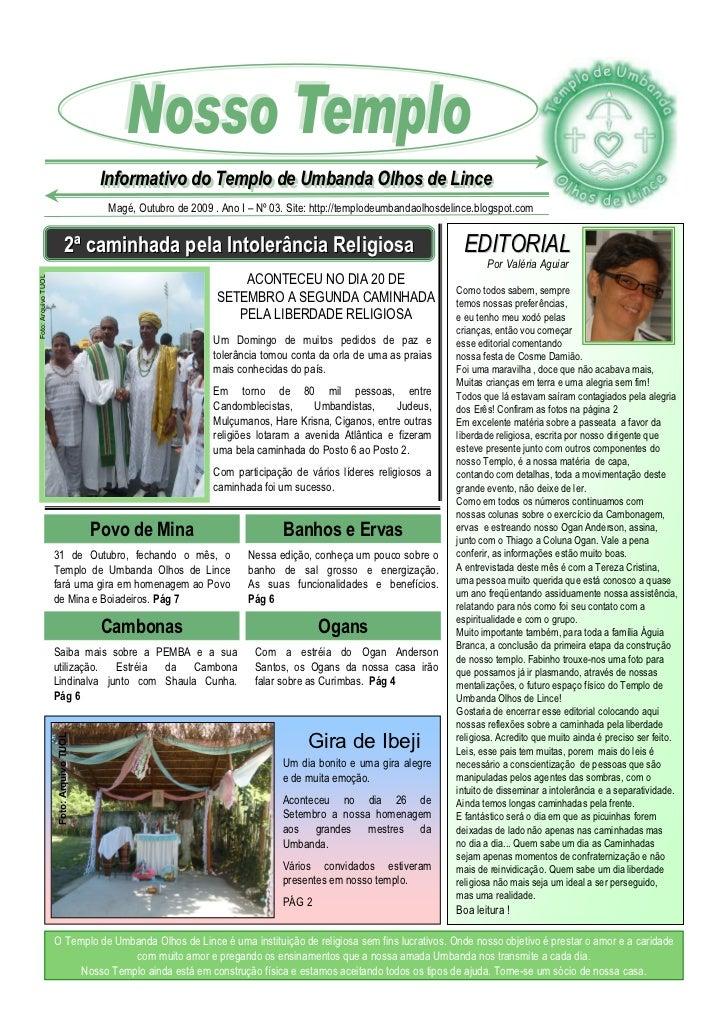 Informativo do Templo de Umbanda Olhos de Lince                                            Informativo do Templo de Umband...