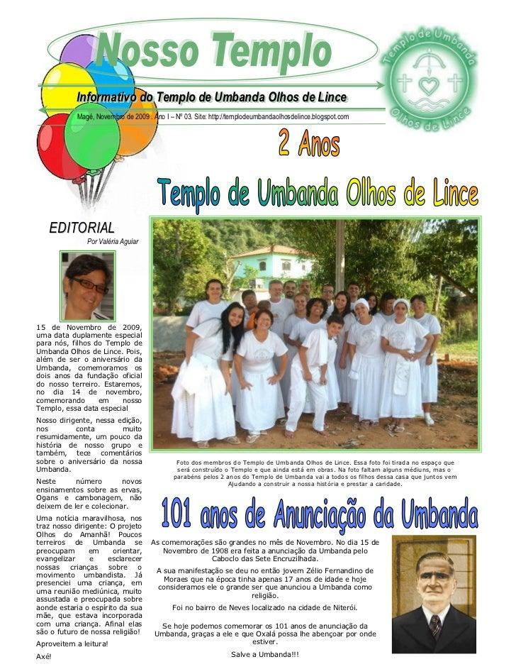 Informativo do Templo de Umbanda Olhos de Lince             Informativo do Templo de Umbanda Olhos de Lince            Mag...