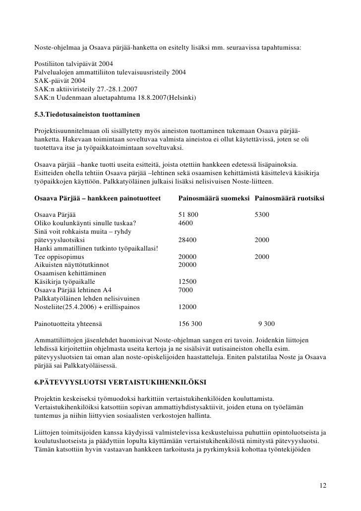 Noste-ohjelmaa ja Osaava pärjää-hanketta on esitelty lisäksi mm. seuraavissa tapahtumissa:Postiliiton talvipäivät 2004Palv...