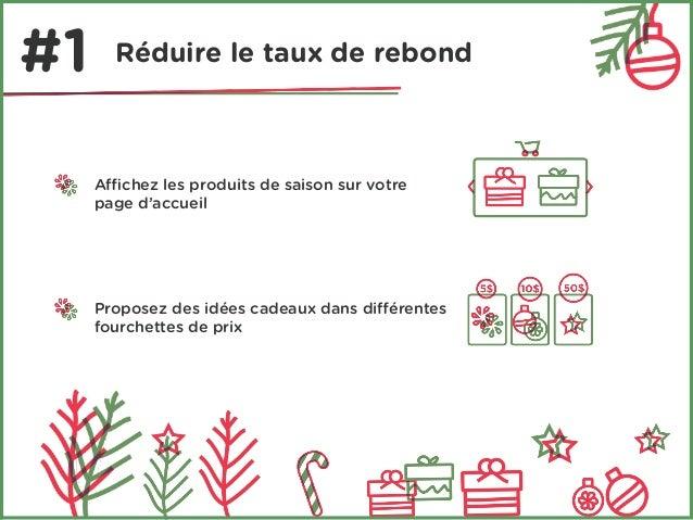 #1 Réduire le taux de rebond  Affichez les produits de saison sur votre  page d'accueil  Proposez des idées cadeaux dans d...