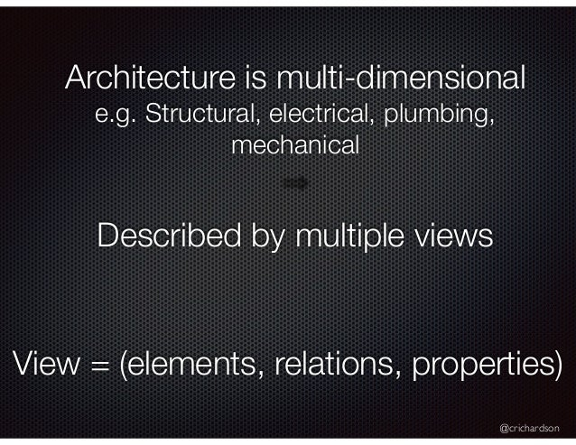 @crichardson Architecture is multi-dimensional e.g. Structural, electrical, plumbing, mechanical Described by multiple vie...