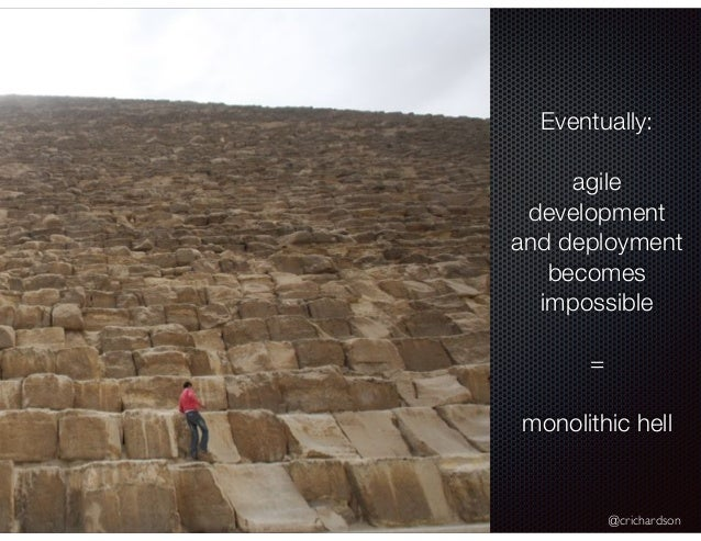 @crichardson Eventually: agile development and deployment becomes impossible = monolithic hell