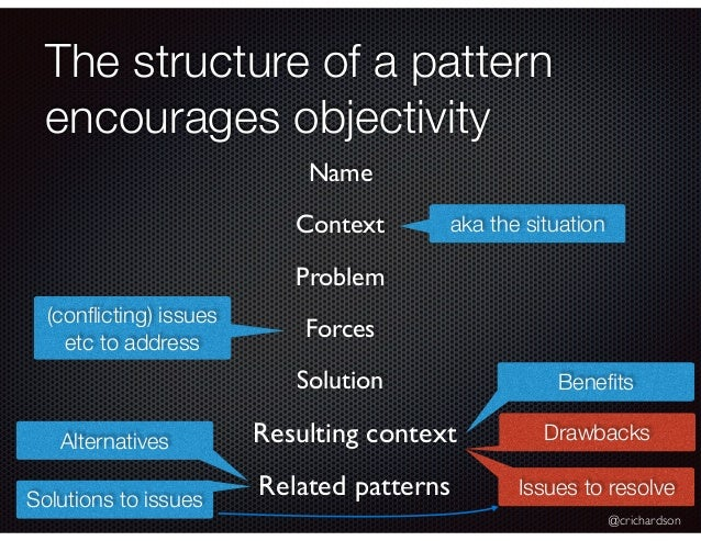 @crichardson The structure of a pattern encourages objectivity Resulting context aka the situation Name Context Problem Re...