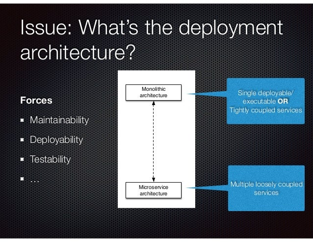 Issue: What's the deployment architecture? Forces Maintainability Deployability Testability … Monolithic architecture Micr...