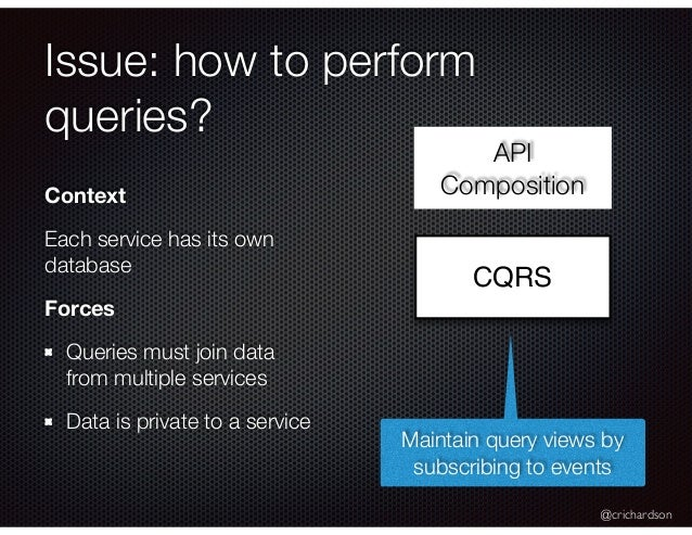 @crichardson Issue: how to perform queries? CQRS Context Each service has its own database Forces Queries must join data f...