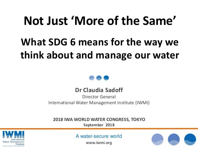 www.iwmi.org A water-secure world Not Just 'More of the Same' What SDG 6 means for the way we think about and manage our w...