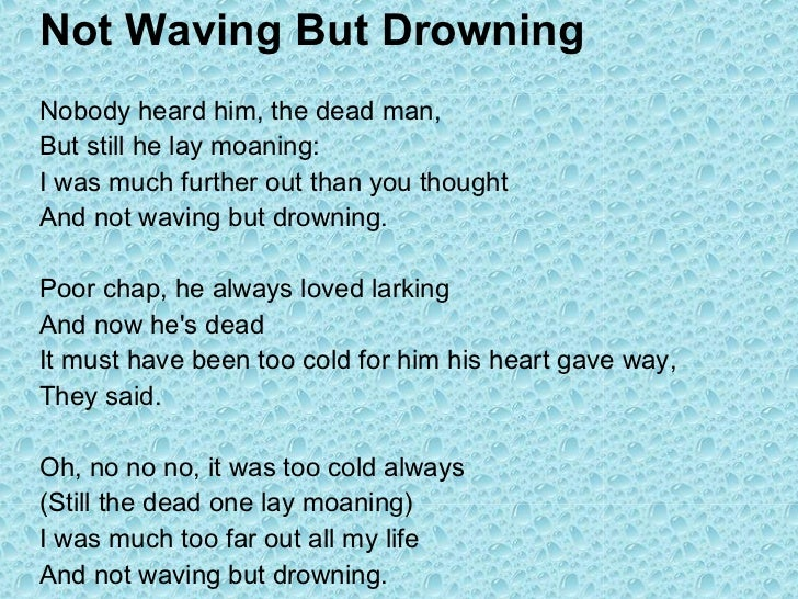 not waving but drowning poem analysis sparknotes