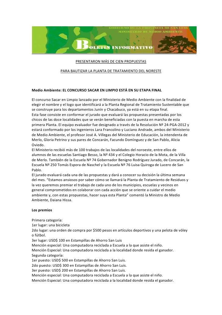 PRESENTARON MÁS DE CIEN PROPUESTAS                 PARA BAUTIZAR LA PLANTA DE TRATAMIENTO DEL NORESTEMedio Ambiente: EL CO...