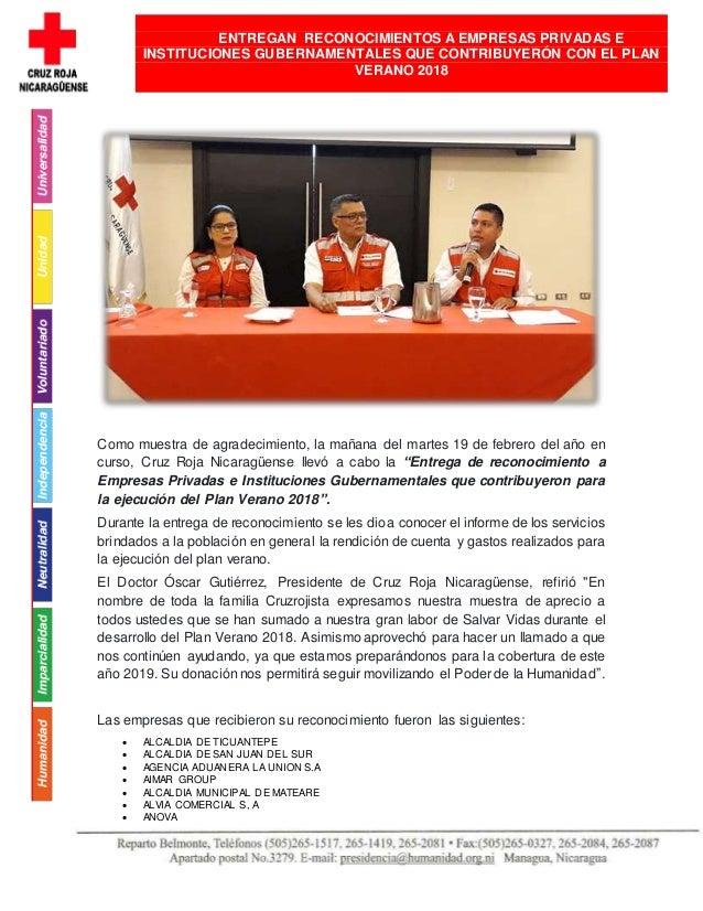 Como muestra de agradecimiento, la mañana del martes 19 de febrero del año en curso, Cruz Roja Nicaragüense llevó a cabo l...