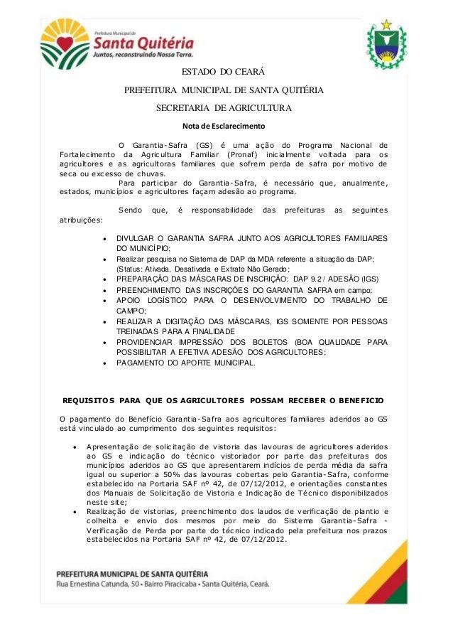 ESTADO DO CEARÁ PREFEITURA MUNICIPAL DE SANTA QUITÉRIA SECRETARIA DE AGRICULTURA Nota de Esclarecimento O Garantia-Safra (...