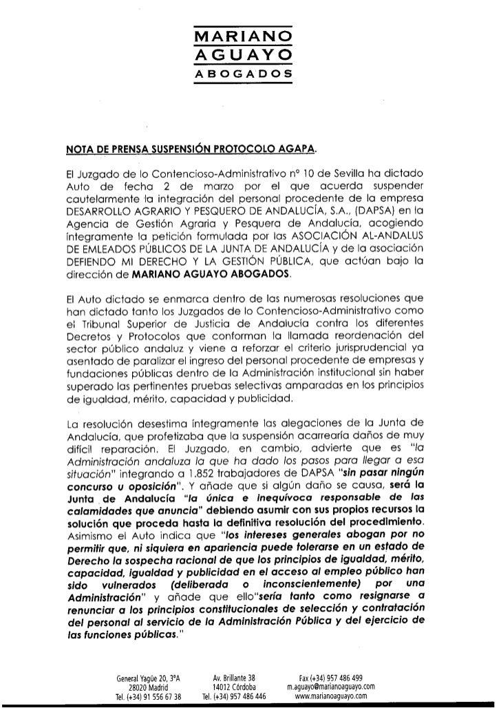 Nota de prensa auto suspensión AGAPA_02-03-2012