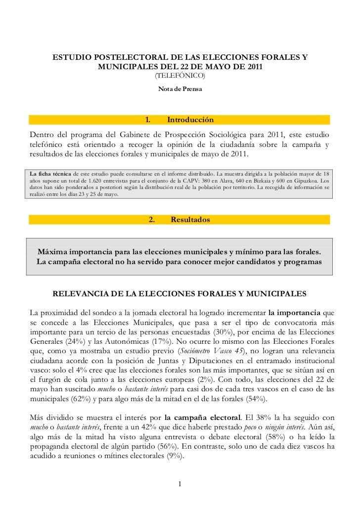 ESTUDIO POSTELECTORAL DE LAS ELECCIONES FORALES Y                  MUNICIPALES DEL 22 DE MAYO DE 2011                     ...