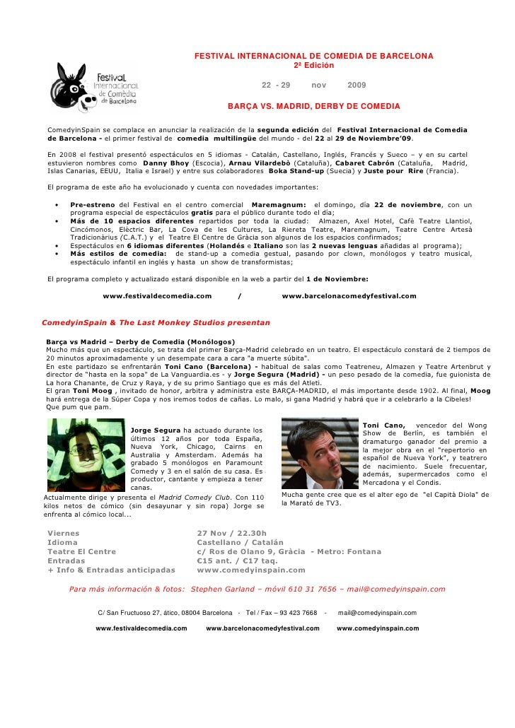 FESTIVAL INTERNACIONAL DE COMEDIA DE BARCELONA                                                                  2ª Edición...