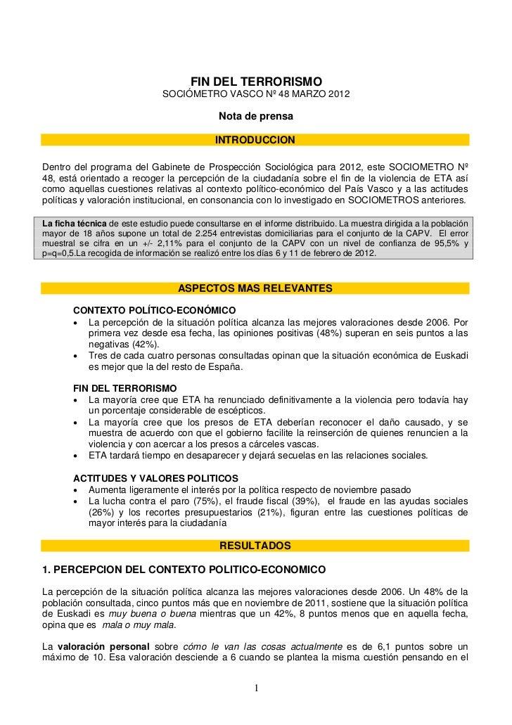 FIN DEL TERRORISMO                               SOCIÓMETRO VASCO Nº 48 MARZO 2012                                        ...