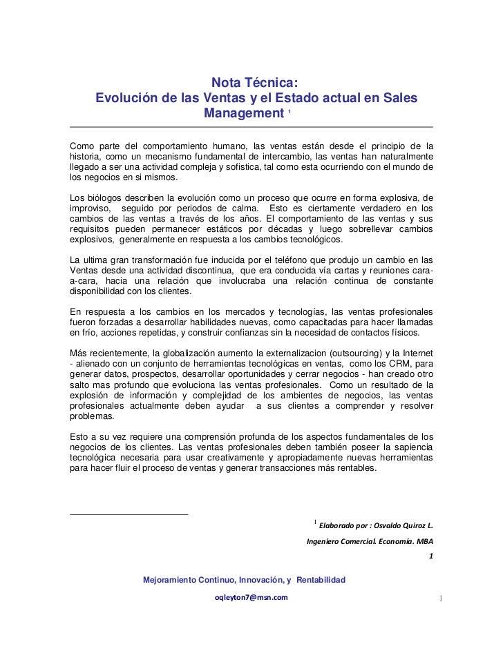 Nota Técnica:      Evolución de las Ventas y el Estado actual en Sales                       Management 1Como parte del co...