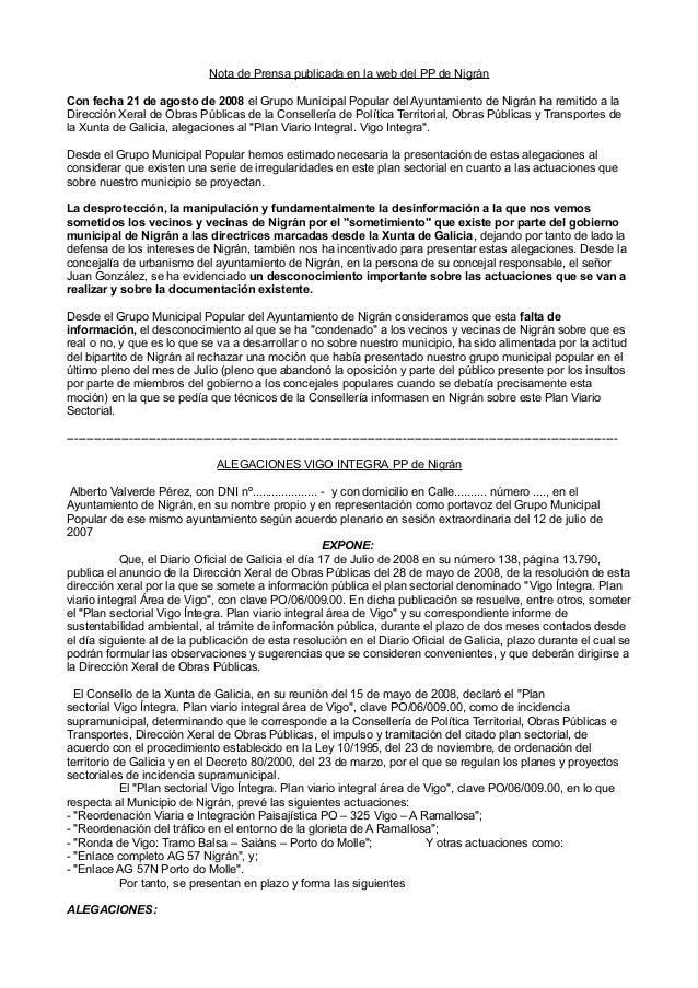 Nota de Prensa publicada en la web del PP de Nigrán Con fecha 21 de agosto de 2008 el Grupo Municipal Popular del Ayuntami...