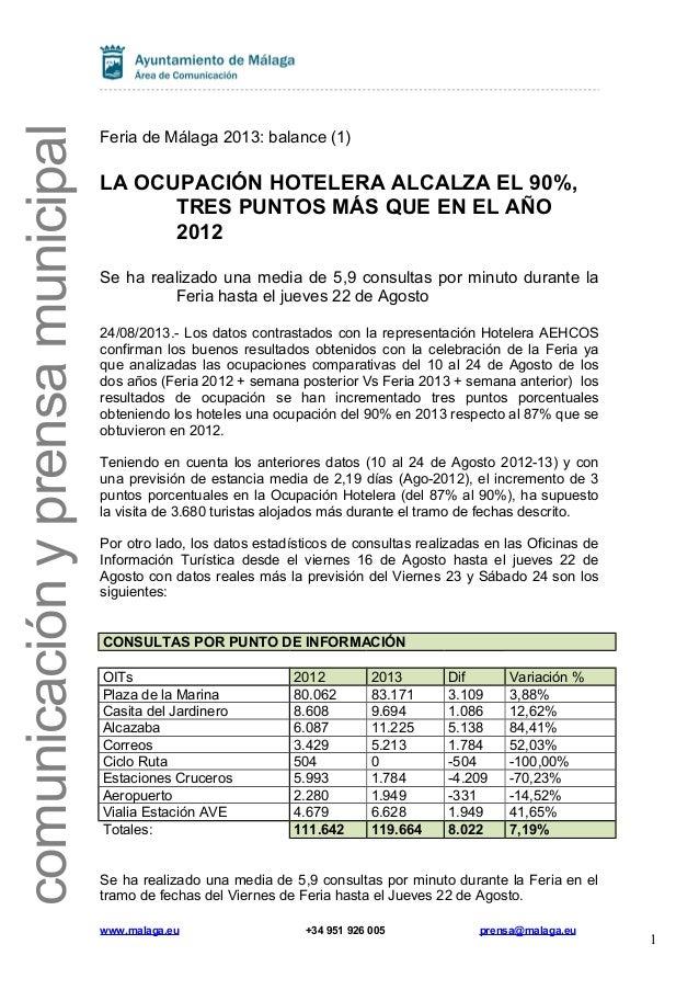 comunicaciónyprensamunicipal Feria de Málaga 2013: balance (1) LA OCUPACIÓN HOTELERA ALCALZA EL 90%, TRES PUNTOS MÁS QUE E...