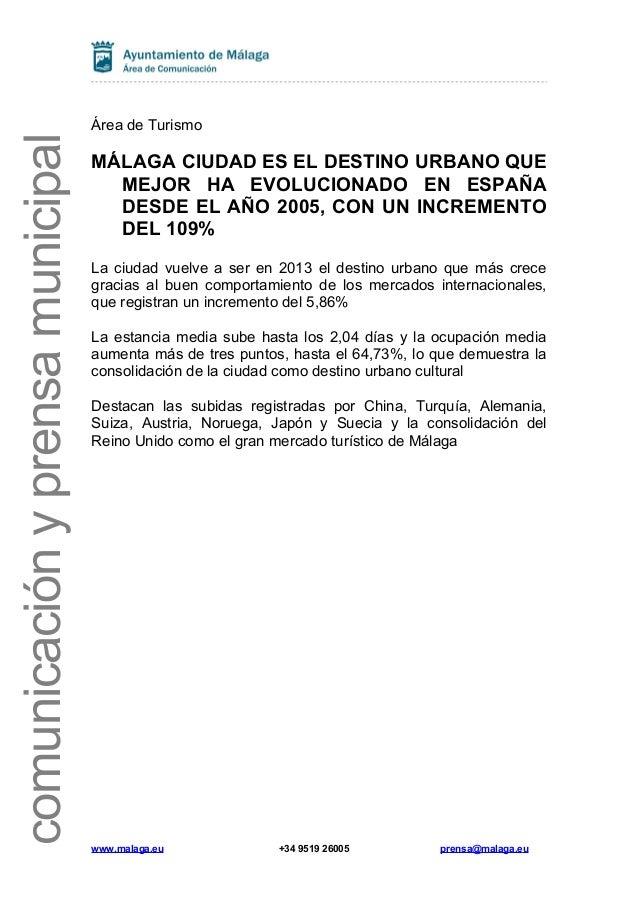 comunicación y prensa municipal  Área de Turismo  MÁLAGA CIUDAD ES EL DESTINO URBANO QUE MEJOR HA EVOLUCIONADO EN ESPAÑA D...