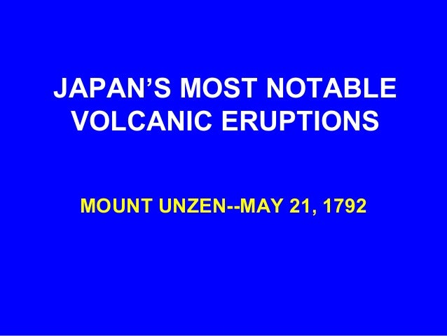 Notable Japanese Volcanic Eruptions