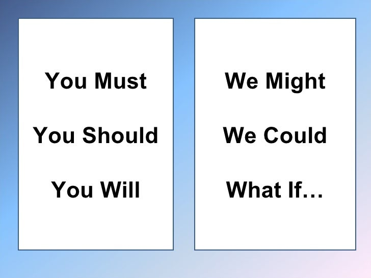 You Must You Should You Will We Might We Could What If…