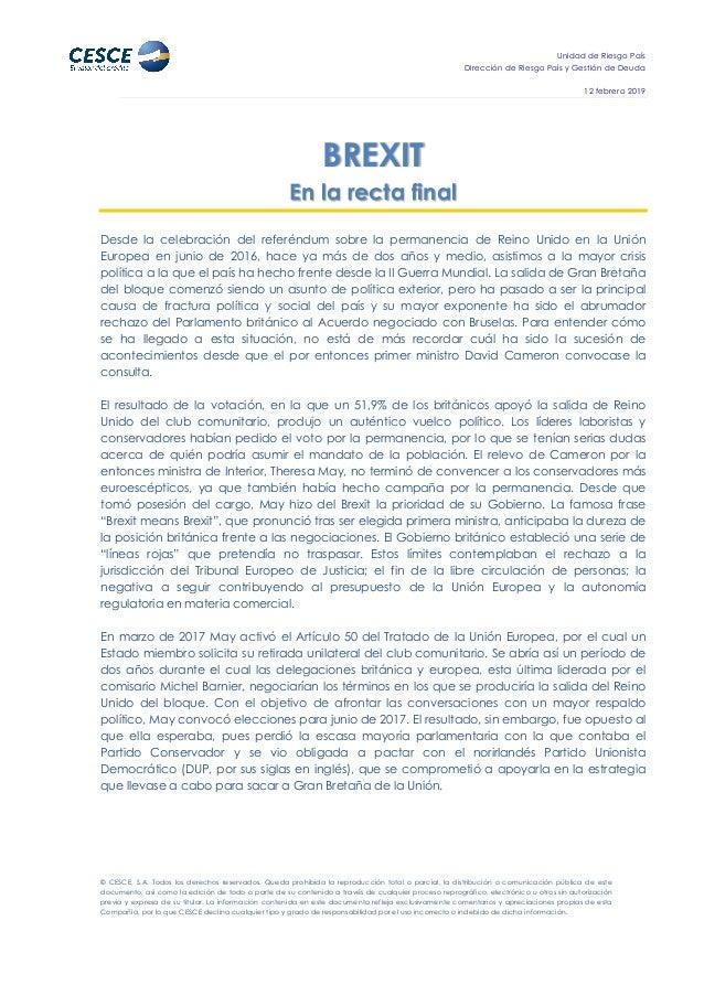 Unidad de Riesgo País Dirección de Riesgo País y Gestión de Deuda 12 febrero 2019 © CESCE, S.A. Todos los derechos reserva...