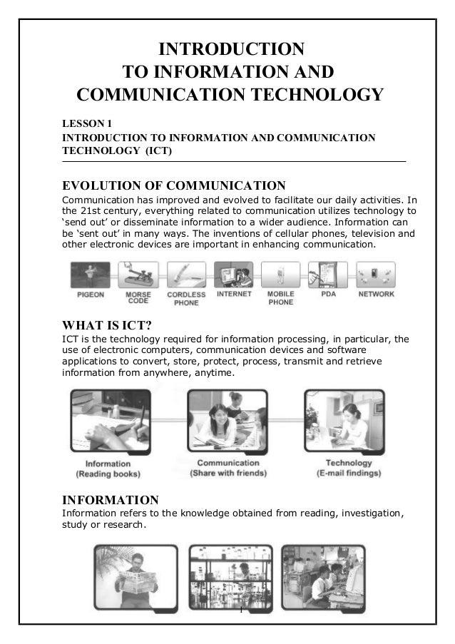 INTRODUCTIONTO INFORMATION ANDCOMMUNICATION TECHNOLOGYLESSON 1INTRODUCTION TO INFORMATION AND COMMUNICATIONTECHNOLOGY (ICT...