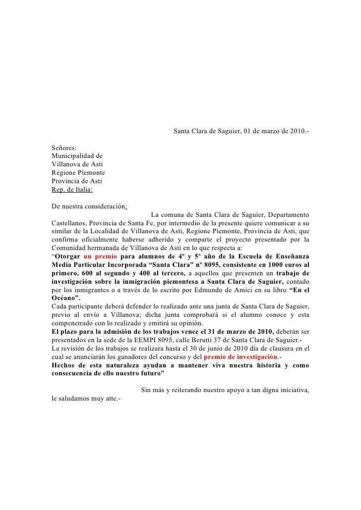 Santa Clara de Saguier, 01 de marzo de 2010.-  Señores: Municipalidad de Villanova de Asti Regione Piemonte Provincia de A...