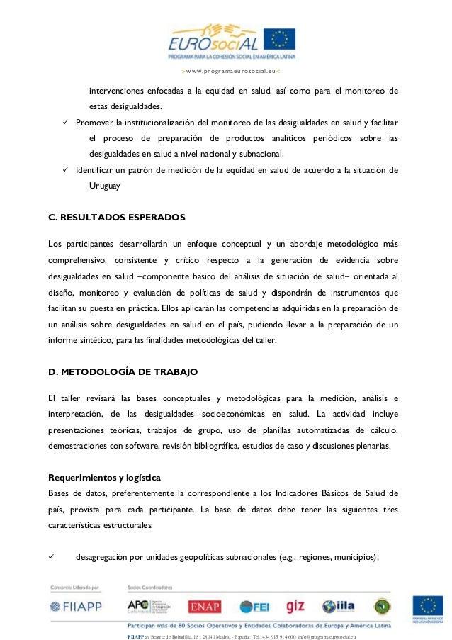 Nota conceputal y agenda. taller de medición de equidad con ops en uruguay Slide 3