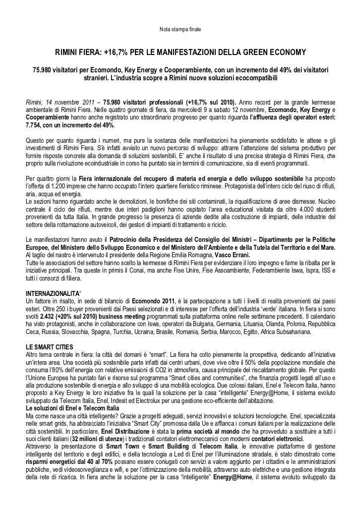 Nota stampa finale             RIMINI FIERA: +16,7% PER LE MANIFESTAZIONI DELLA GREEN ECONOMY   75.980 visitatori per Ecom...