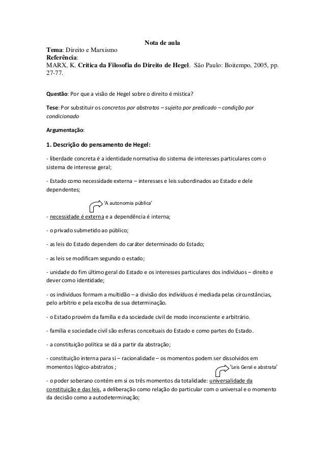 Nota de aulaTema: Direito e MarxismoReferência:MARX, K. Critica da Filosofia do Direito de Hegel. São Paulo: Boitempo, 200...