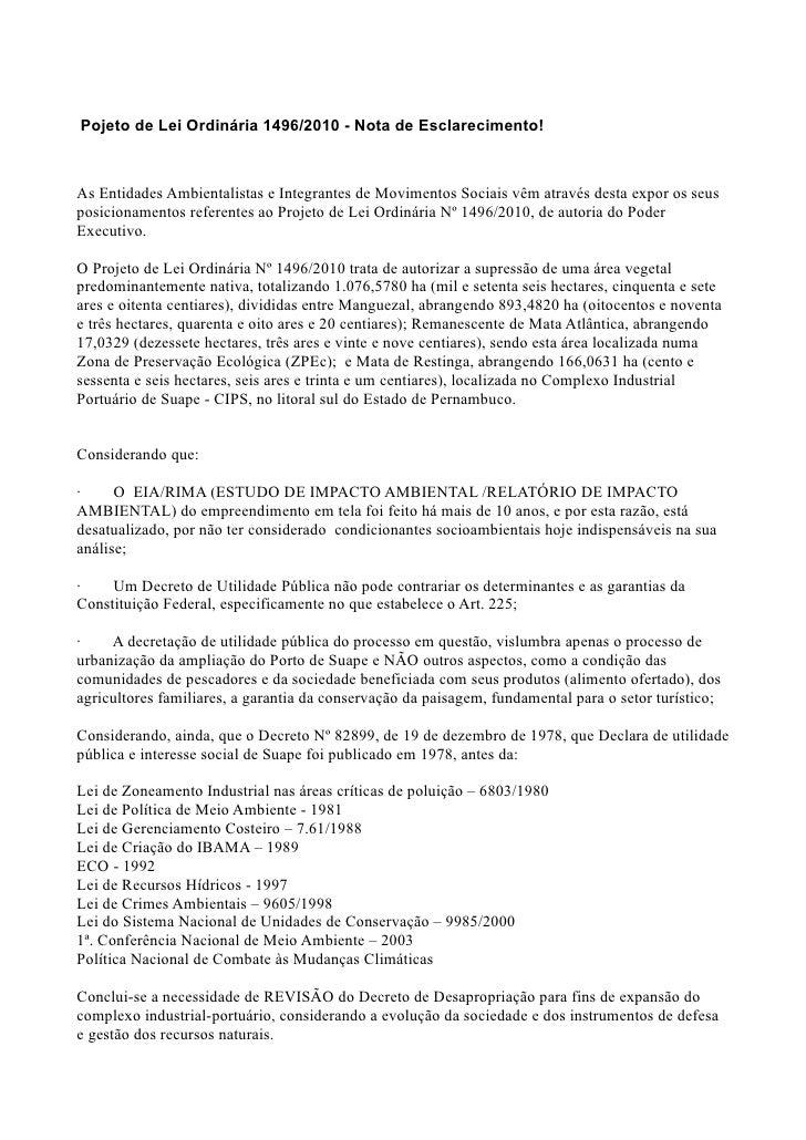 Pojeto de Lei Ordinária 1496/2010 - Nota de Esclarecimento!    As Entidades Ambientalistas e Integrantes de Movimentos Soc...