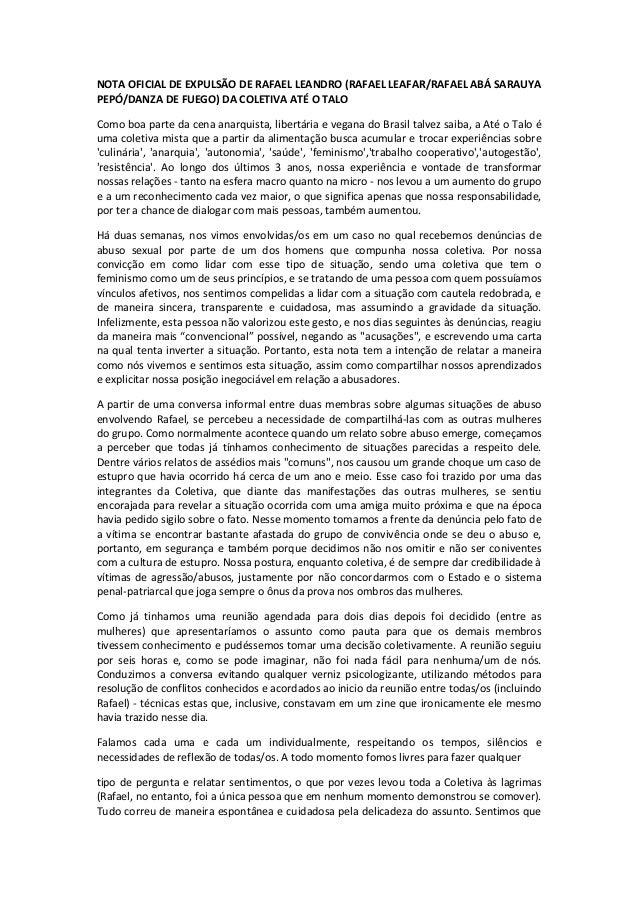 NOTA  OFICIAL  DE  EXPULSÃO  DE  RAFAEL  LEANDRO  (RAFAEL  LEAFAR/RAFAEL  ABÁ  SARAUYA  PEPÓ/DANZA  DE  FUEGO)  DA  COLETI...