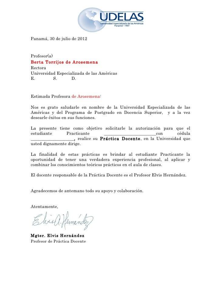 Panamá, 30 de julio de 2012Profesor(a)Berta Torrijos de ArosemenaRectoraUniversidad Especializada de las AméricasE.       ...