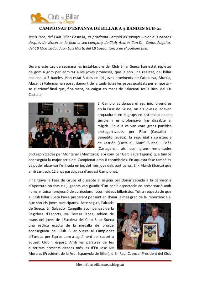 CAMPIONAT D'ESPANYA DE BILLAR A 3 BANDES SUB-21  Jesús Rico, del Club Billar Castalla, es proclama Campió d'Espanya Junior...