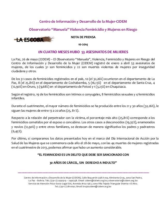 """Centro de Información y Desarrollo de la Mujer-CIDEM Observatorio """"Manuela"""" Violencia Feminicidio y Mujeres en Riesgo NOTA..."""