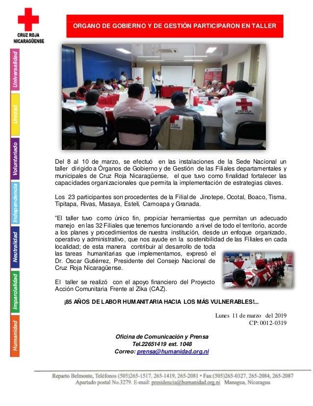 Del 8 al 10 de marzo, se efectuó en las instalaciones de la Sede Nacional un taller dirigido a Órganos de Gobierno y de Ge...