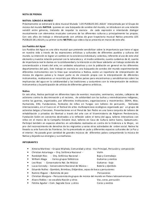 NOTA DE PRENSA NATIVA: SONIDO A MUNDO Próximamente se estrenará la obra musical titulada ¨LOS PUEBLOS DEL AGUA¨ interpreta...