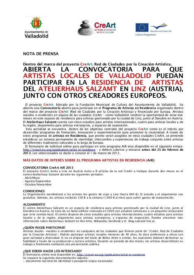 NOTA DE PRENSADentro del marco del proyecto CreArt. Red de Ciudades por la Creación Artística .ABIERTA LA CONVOCATORIA PAR...