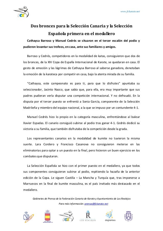 www.fckarate.net  Dos bronces para la Selección Canaria y la Selección Española primera en el medallero Cathaysa Barroso y...