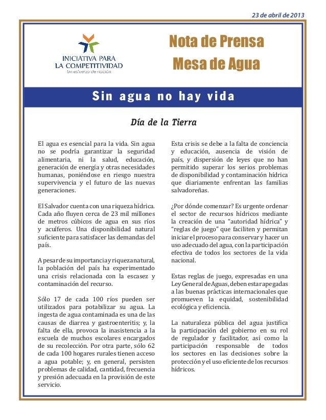 Nota de PrensaSin agua no hay vidaMesa de AguaDía de la TierraEl agua es esencial para la vida. Sin aguano se podría garan...