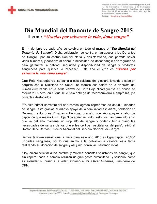Nota De Prensa Del Dia Mundial Del Donante De Sangre 2015