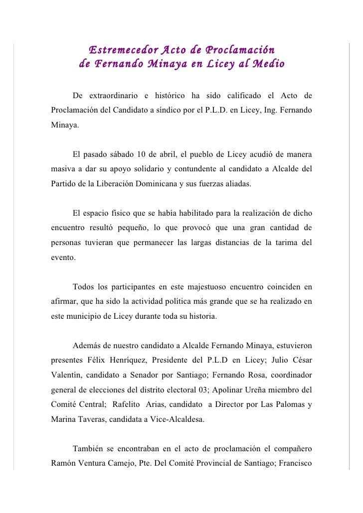 Estremecedor Acto de Proclamación           de Fernando Minaya en Licey al Medio        De extraordinario e histórico ha s...