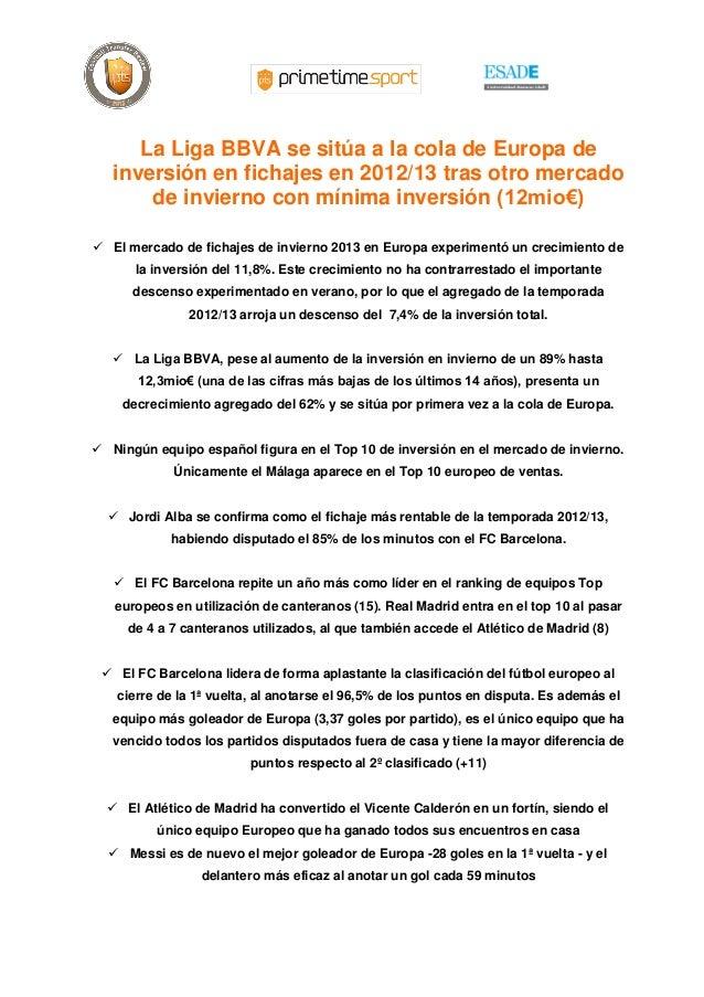 La Liga BBVA se sitúa a la cola de Europa de   inversión en fichajes en 2012/13 tras otro mercado       de invierno con mí...