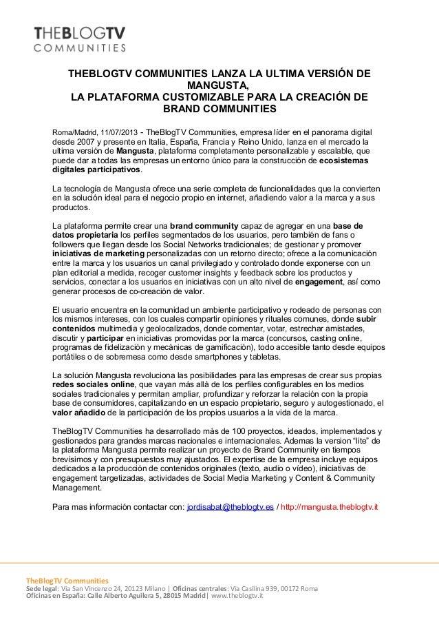 THEBLOGTV COMMUNITIES LANZA LA ULTIMA VERSIÓN DE MANGUSTA, LA PLATAFORMA CUSTOMIZABLE PARA LA CREACIÓN DE BRAND COMMUNITIE...