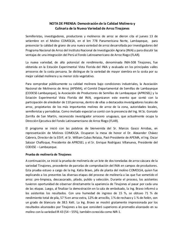 NOTA DE PRENSA: Demostración de la Calidad Molinera y                    Culinaria de la Nueva Variedad de Arroz Tinajones...