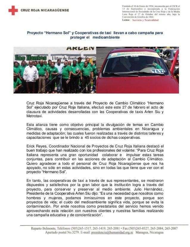 """Proyecto """"Hermano Sol"""" y Cooperativas de taxi llevan a cabo campaña para proteger el medioambiente  Cruz Roja Nicaragüense..."""