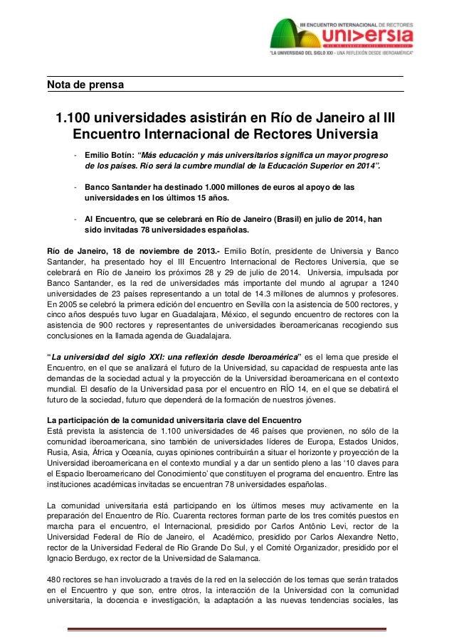 Nota de prensa      1.100 universidades asistirán en Río de Janeiro...